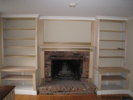 bookcase plans around fireplace