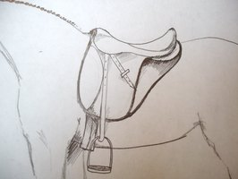 how to draw a horse saddle