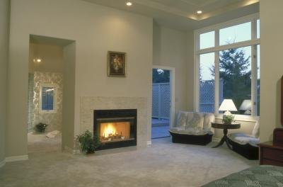Living room light color walls mirror stools fireplace for L shaped living room with fireplace
