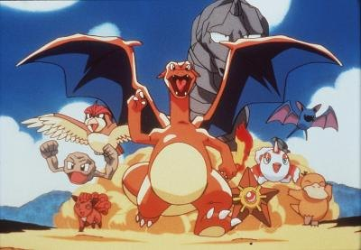 Pictured in the center is Chizard, the adult form of Charmander from Pokemon ...