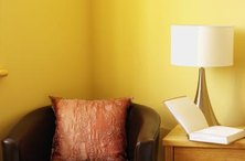 Yellow walls create a bright, airy look.