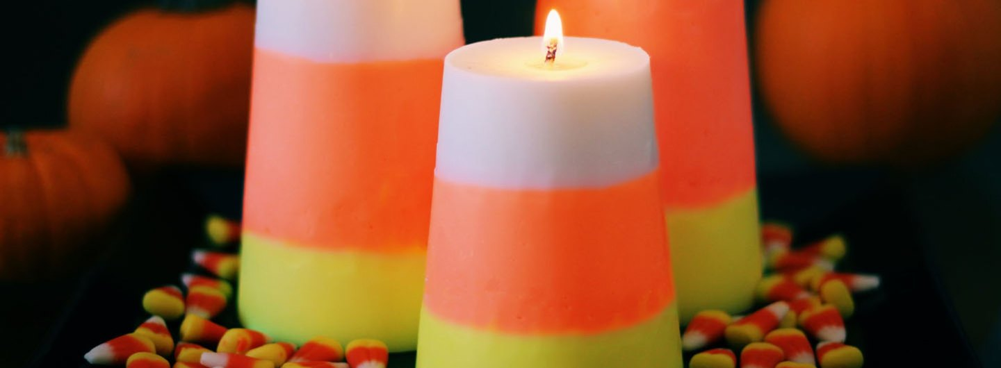 "DIY ""Candy Corn"" Decorative Candles"