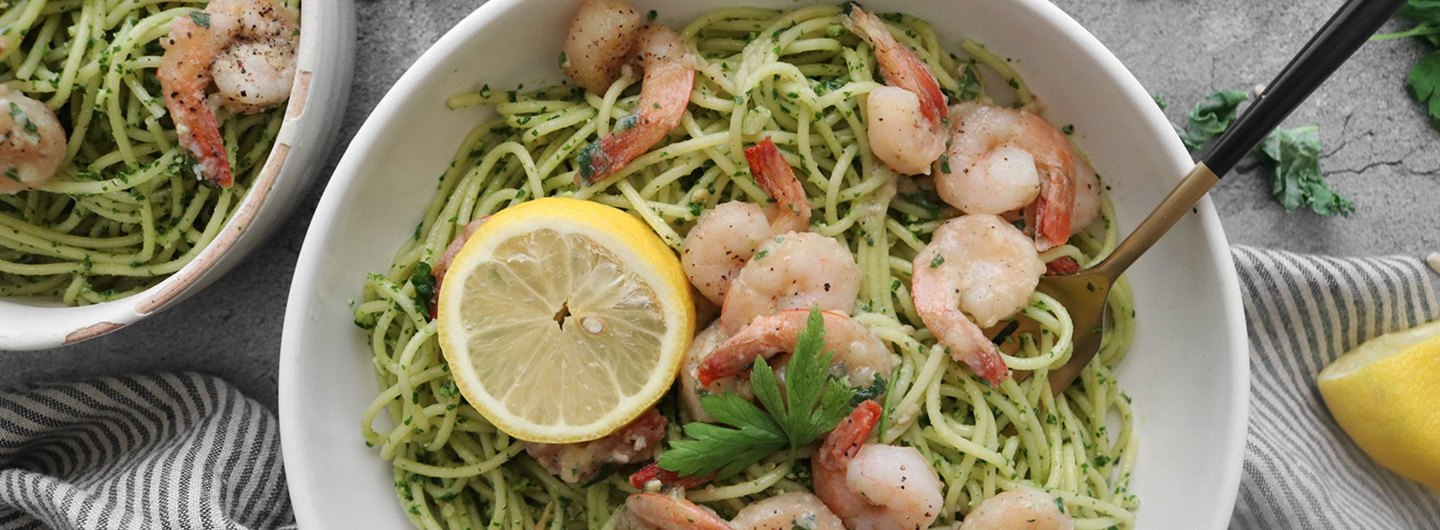 Kale Pesto Pasta With Lemon Garlic Shrimp Recipe