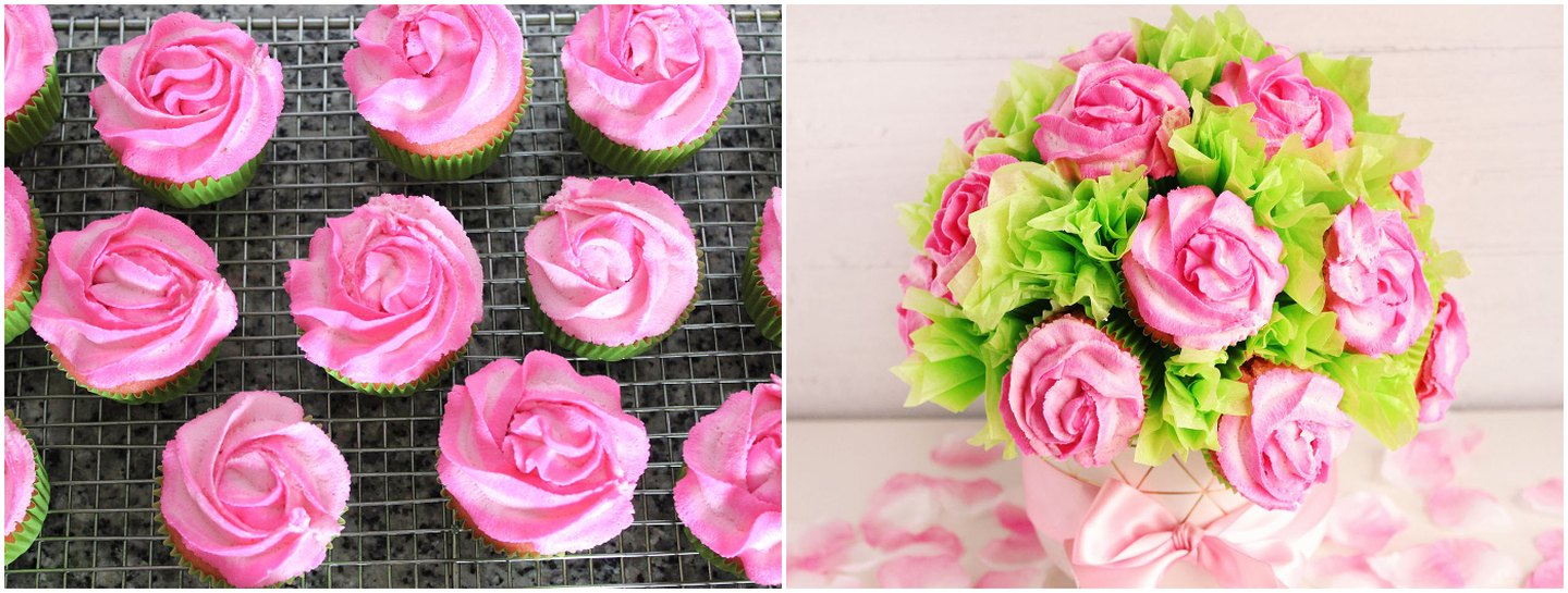 DIY Rose Cupcake Bouquet