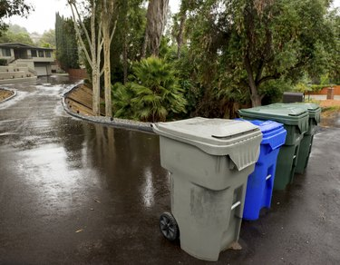 Trash, Recycling and Green Leaf Bins on the Street