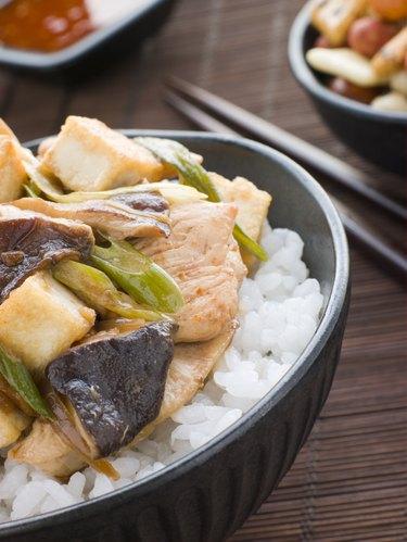 Chicken and Mushroom Donburi with Fried Tofu