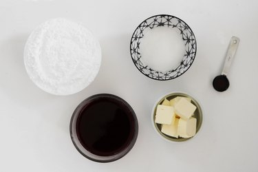 Ingredients for red wine buttercream