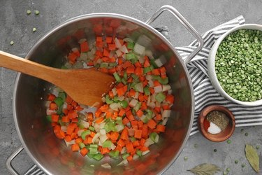 Saute onion, carrots and celery