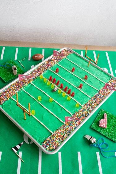 DIY football stadium sheet pan cake on table