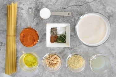 Ingredients for vegan pumpkin Alfredo