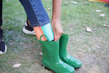 fit pool noodles into boots