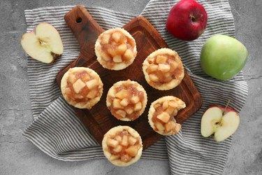 Mini caramel apple cheesecakes