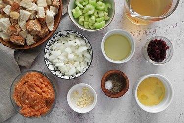 Ingredients for sausage stuffing muffins