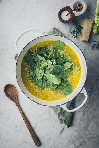 Adding spinach