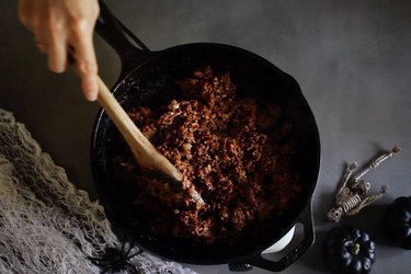 Browning beef and spices