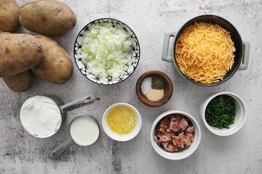 Ingredients for mashed potato casserole