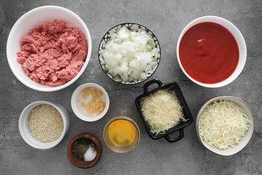 Ingredients for baked Parmesan turkey meatballs