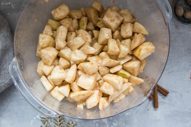 Pear filling mixture in a mixing bowl