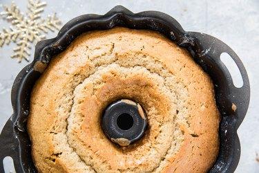 eggnog cake in a bundt cake pan