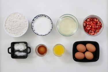 Ingredients for baked strawberry champagne donuts