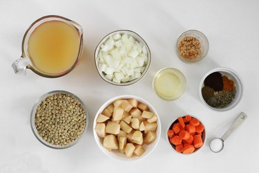 Ingredients for lentil & potato stew