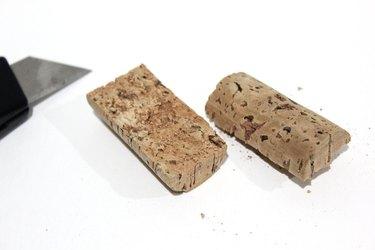 cut cork halves