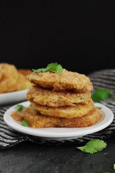 Serve crispy fried green tomatoes