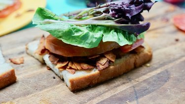 Making an amazing vegan BLT with coconut bacon.