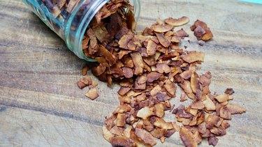 Coconut bacon in a mason jar.
