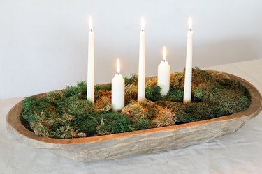 DIY moss bowl centerpiece with candles
