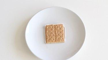 Icing piped around graham cracker