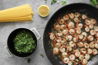 Kale pesto pasta with lemon garlic shrimp
