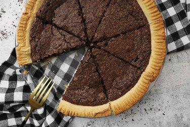Slice chocolate chess pie