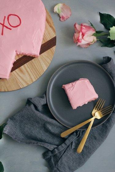 Slice of conversation heart cake