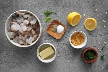 Ingredients for lemon garlic shrimp