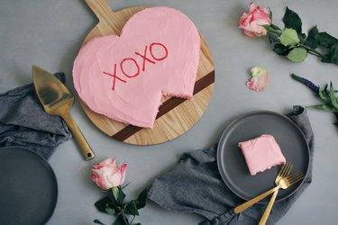 Conversation heart cake