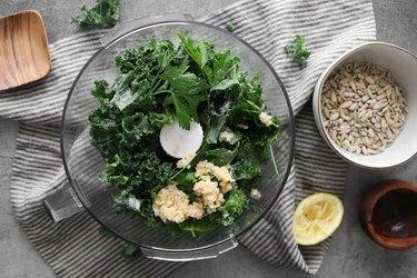 Combine kale pesto ingredients