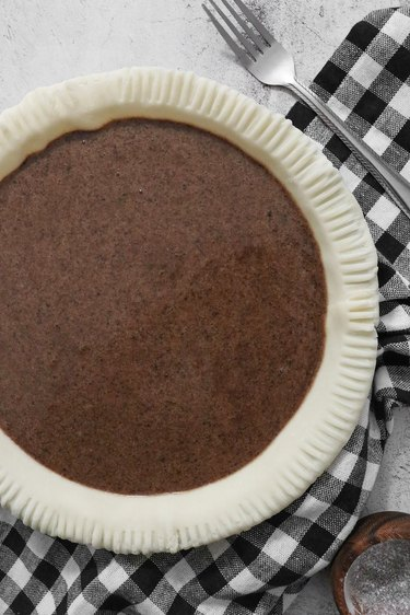 Pour chocolate chess pie filling