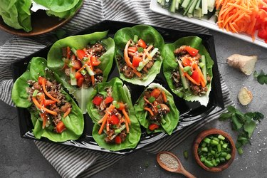 Korean BBQ chicken lettuce wraps