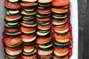 Layer vegetables in baking dish