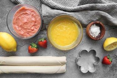 Ingredients for mini flower tarts