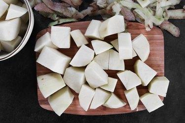 Peel and cut the potatoes
