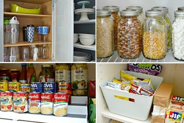 A collage of four photos, showing well-organized kitchen cabinet and pantry shelves.