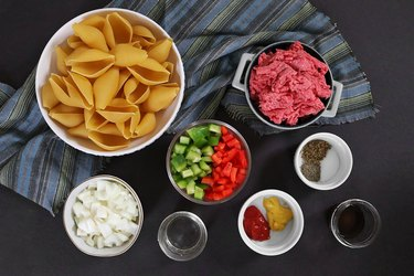 Ingredients for Philly cheesesteak stuffed shells