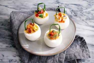 Deviled egg baskets with gourmet toppings