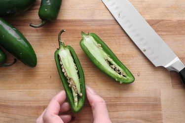Cut the jalapeño peppers