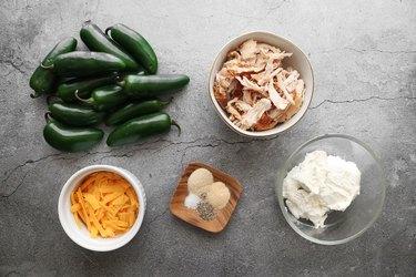 Ingredients for stuffed jalapeños