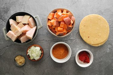 Ingredients for vegan jackfruit and potato taquitos