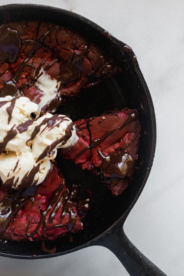 Serve warm with a scoop of ice cream and drizzle of chocolate sauce.