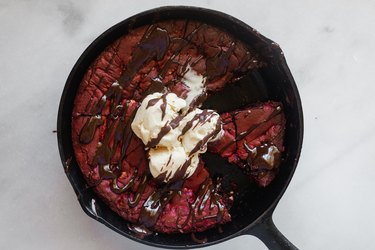 Red Velvet Skillet Cookie is a delicious, easy, and decadent dessert!